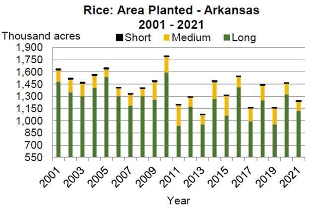arkansas rice planted acres